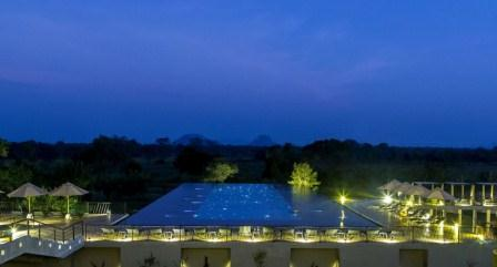 Aliya Resort Spa Pool Night