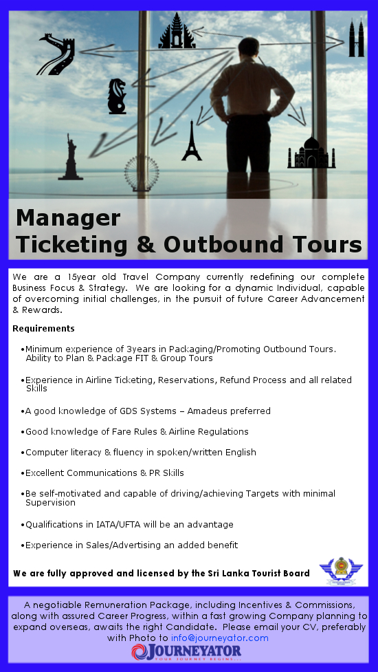 Manager Ticketing Outbound Tours Ad Copy